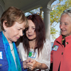 From Left, Ann Caron talking to our hostess, Arlene Mark, with Nancy Burke, at the May 19 annual meeting